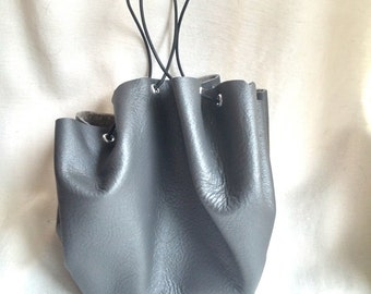 Gray Drawstring Leather Pouch