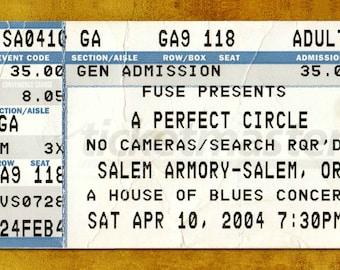 A Perfect Circle Concert Ticket Stub, Salem, OR 2004