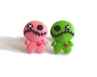 Voo Doo Doll, Voodoo Doll Earrings, Polymer Clay Earrings, Voodoo Earrings, Halloween Earrings Mix and Match Earrings Halloween Kids Costume