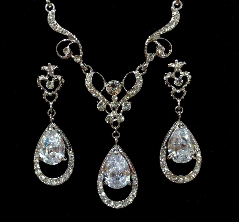 Bridal Jewelry Set Vintage Victorian Wedding Earrings