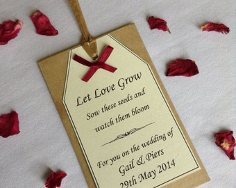Personalised Rustic Country Wildflower Seed  Wedding Favours, Rafia & Coloured Bow Handmade.
