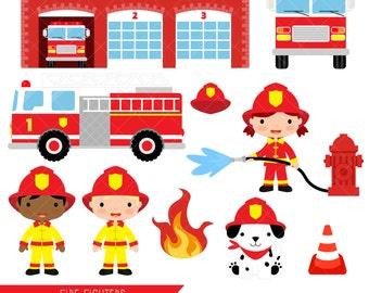 Firefighter Clipart / Fire Fighter / Fireman / Fire Engine / Fire Truck