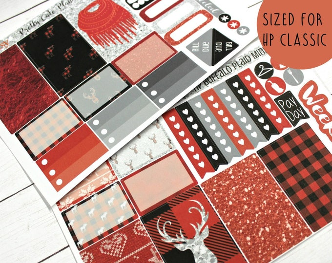 Christmas Happy Planner Stickers - Weekly Planner - Fall Winter Happy Planner -  Functional stickers - Buffalo Plaid - Christmas stickers