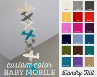 Choose Your Own Color Airplane Strand Baby Mobile - 100% Merino Wool Felt Baby Mobile - Eco-Friendly - Heirloom Quality