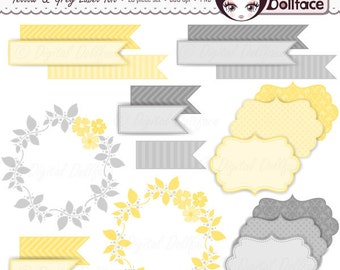 Digital Flags, Labels and Frames / Yellow and Gray Invitation Clipart, Bracket Tag Clip Art