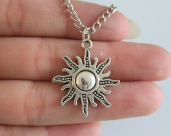 Ancient Silver Sun Necklace Charm Necklace Sun Jewelry Pendant Necklace 25*28mm