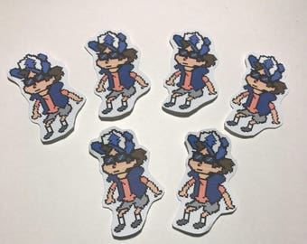 Gravity Falls Pixelated Dipper Pines in Shades Sticker