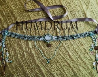 Forest Dryad Diadem- Natural Moonstone Beaded Headdress -Whisical OOAK Formal Headband -Green Swarovski Crystal & Brass- LARP Costume