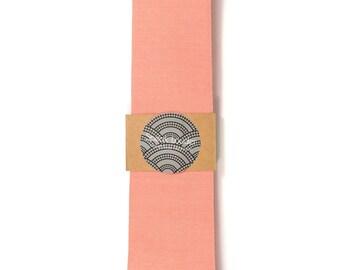 Coral  necktie - Wedding Mens Tie Skinny Necktie organic cotton- Laid-Back necktie