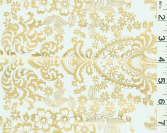 Gold Floral Oilcloth, Fabric By The Yard