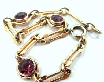 "Vintage Gold Filled & Amethyst Colored Glass ""Sturdy"" Bracelet"