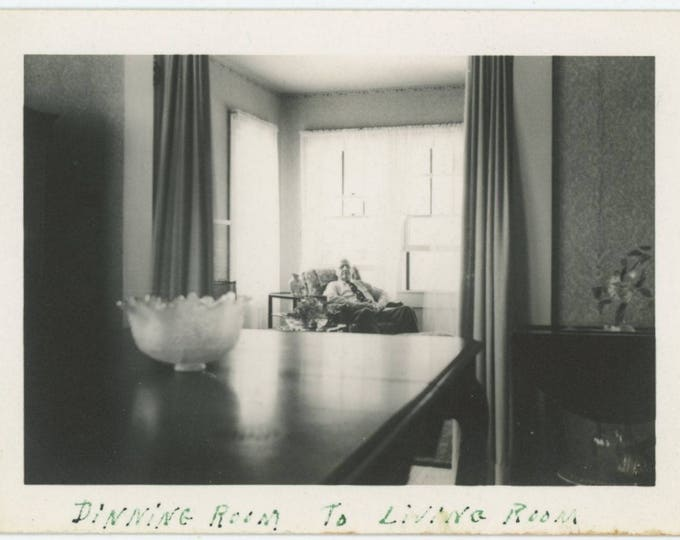 "Vintage Snapshot Photo: ""Dining Room to Living Room, 1941"" (710613)"