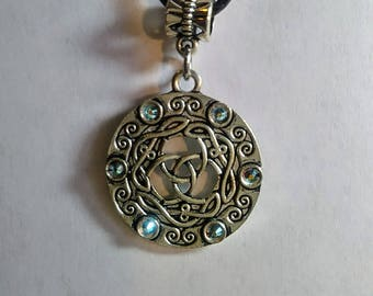 Circle Celtic Knot Pendant with Swarovski Crystals