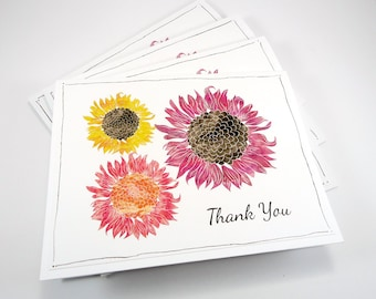 Flower thank you card set, boxed card set, floral note card set, sunflowers, mums, fall autumn note cards, Mother's Day