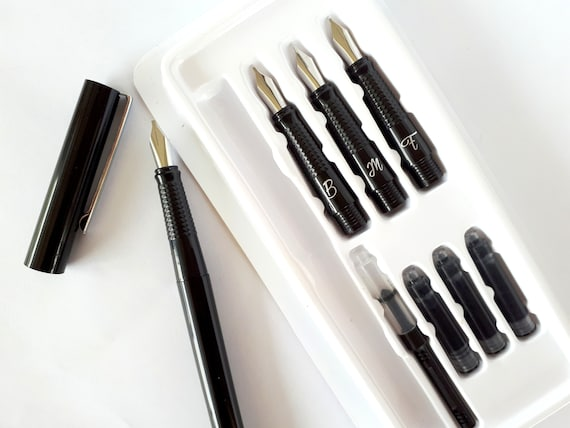 Calligraphy set pen different sizes screw in tops with