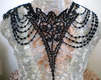 Victorian Black Beaded Collar