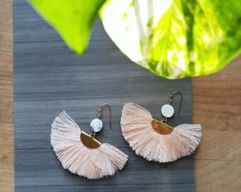 L I G H T - Composite Series- Blush Fan Tassel Earrings with Howlite Detail