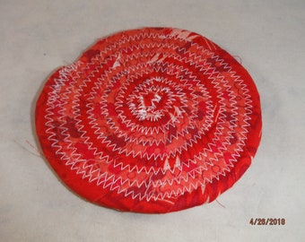 """OOAK 4"""" coiled coaster Red  -- DreamscapesByCyn -- entertaining -- barware"""