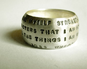 Hand Stamped Wide Domed Ring by donnaodesigns