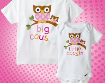 Set of Two Big Cousin Owl Shirt, and Little Cousin Owl Onesie or Shirt Set Personalized Owl Tee Shirt or Onesie Set of Two (07092013b)