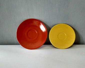 Red and yellow dessert plates, saucers, mix and match china