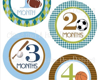 Monthly Milestone Stickers- Boys Sports monthly bodysuit stickers- Baby month stickers- Monthly baby stickers- blue green sports- BOY170