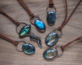 Labradorite and recycled copper rough witchy gypsy pendants