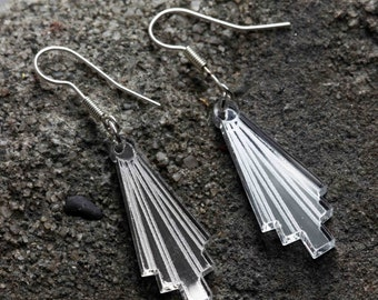 Silver Art Deco laser cut earings