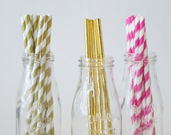 Fancy Paper Straws in Striped Gold or Pink or Shiny Gold