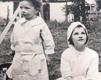 Darling Vintage Photo Brother & Sister, Vintage Watering Can