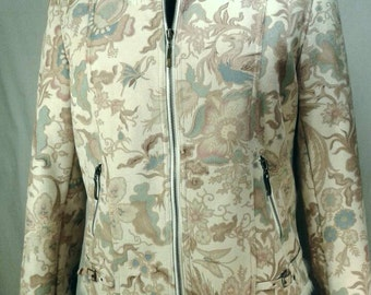 Painted Faux Suede Cropped Jacket Coat Pastel Cream Fauna Floral Birds Butterflies Faux Fur Collar Cuffs Lining Women's Size 14 Large