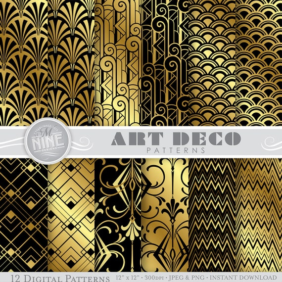 art deco digital paper black gold art deco pattern prints rh etsy com Art Deco Design Motifs art nouveau animal designs and patterns