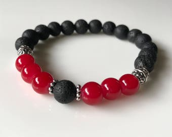 Aromatherapy Diffuser Bracelet/ Essential Oil Bracelet/ Red and Black/ UGA Jewelry/ Falcon's Jewelry/ Gift for Her/ Under 15/Free Shipping