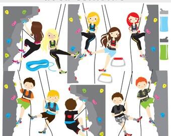Rock climbing clipart - rock climbing clip art, sport, health, fitness, kids, mountain climbing, digital, for personal commercial use