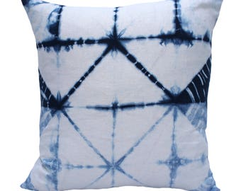 "Shibori Indigo Pillow Cover 22"" x 22"""