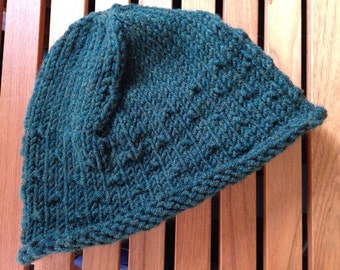 Hand knit wool/acrylic hat modern style for teens and college students  holiday gift