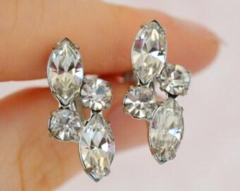 Vintage Screw Back Earrings with Shimmering Clear Rhinestones