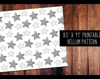 Sketchy Stars Vellum | PRINTABLE VELLUM PATTERN Digital, for use in Travelers Notebooks, Digital Paper