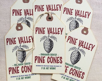 Primitive Pine Cone Christmas Feedsack Gift or Scrapbook Tags #1224