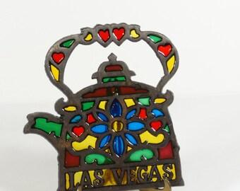 Las Vegas Stained Glass Trivet - Vintage Trivet - Vegas Kitsch - Vintage Vegas