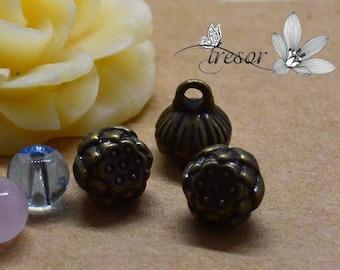 Set of 10 QZW136 charms, connector, Bronze, flowers