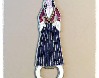 Bronze / Enamel GREEK WOMAN Bottle Opener VINTAGE
