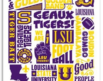 """LSU Tiger """"Wordblock"""" Poster"""