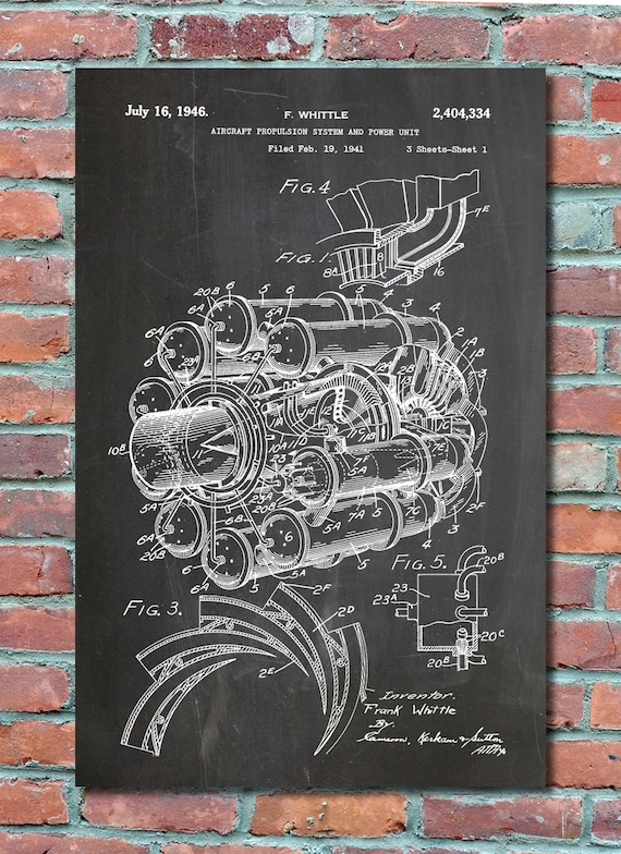 Jet engine patent 1946 patent wall art print blueprint jet engine patent 1946 patent wall art print blueprint patent print plexity prints 014 malvernweather Image collections