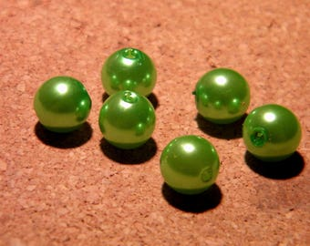 10 pearls iridescent - 10 mm - Green PF118 1 mother of Pearl effect