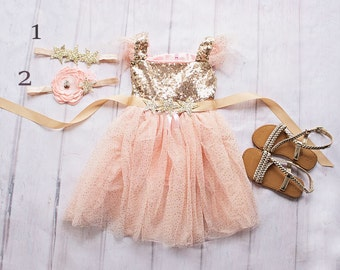 Twinkle Twinkle Little Star Birthday Outfit, Birthday Dress, Gold and Pink Birthday Outfit, Gold Pink Birthday Dress, First Birthday Dress