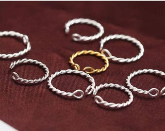 Sterling Silver Twisted Ring | Stacking Ring | Rings for Children Girls | Midi Ring Size B-H