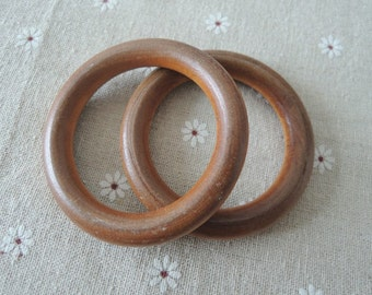 "6 Pcs Large  69mm(2 3/5"") Wood  Ring  Unfinished Wooden Circle No Varnish (W602)"