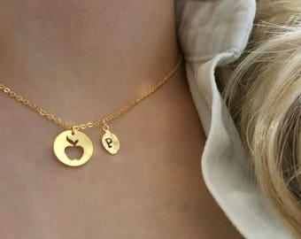 Tiny apple necklace Etsy
