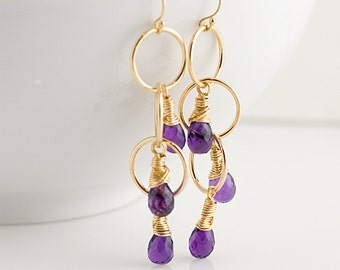 Cascading Purple Amethyst 14K Gold Filled Earrings